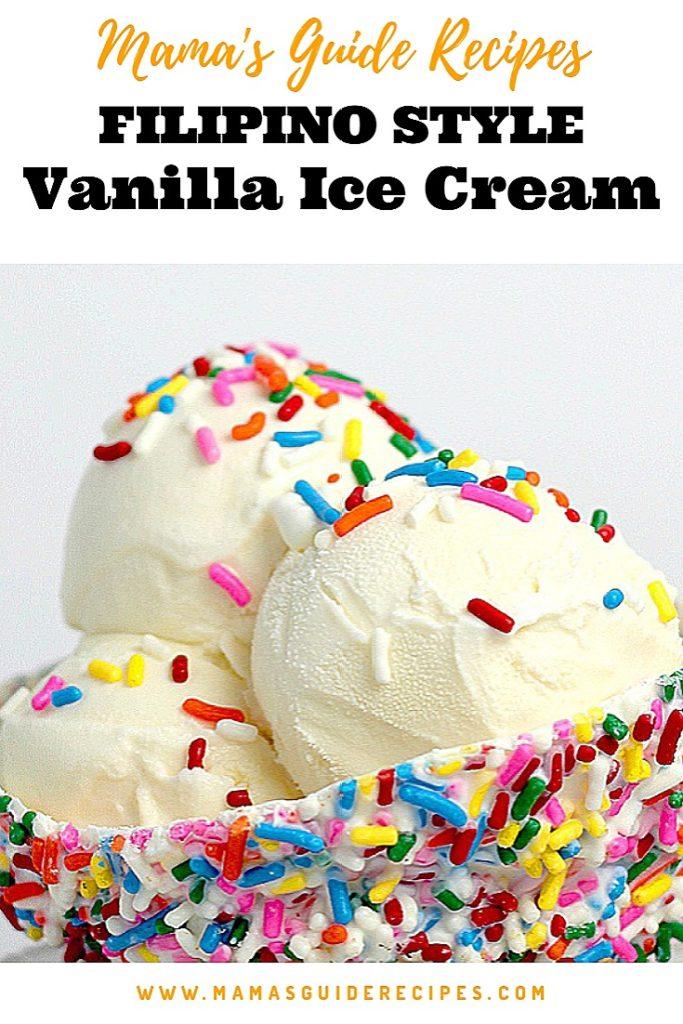 Filipino Style Vanilla Ice Cream