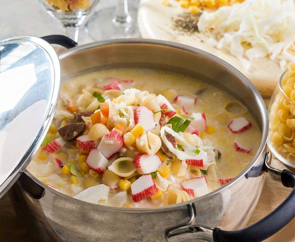 Chicken Soup with Crab Sticks