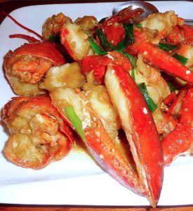 LOBSTER WITH GINGER & SCALLIONS
