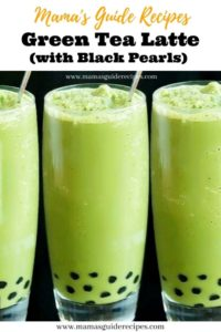 ICED GREEN TEA LATTE WITH BLACK PEARLS