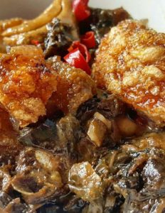 Spicy Laing with Bagnet ng Ilocos Recipe