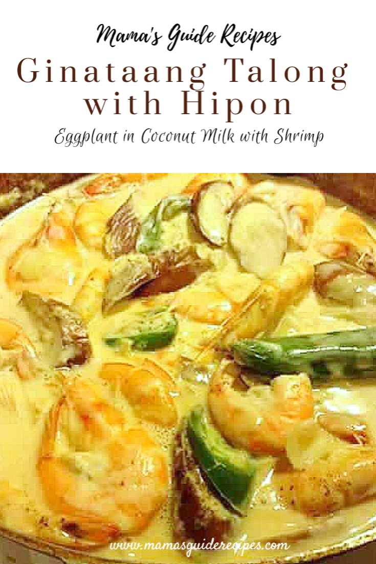 Ginataang Talong with Hipon  (Eggplant in Coconut milk with Shrimp)