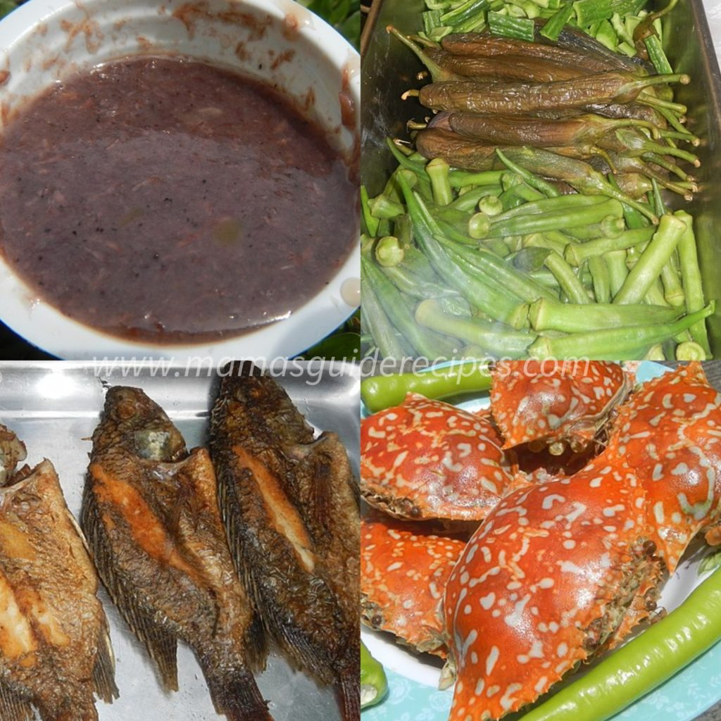 Pritong tilapia, nilagang okra at talong, with spicy suka and bagoong alamang dippings!