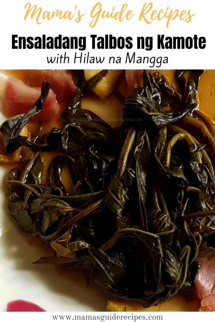 Ensaladang Talbos Ng Kamote with Hilaw na Mangga